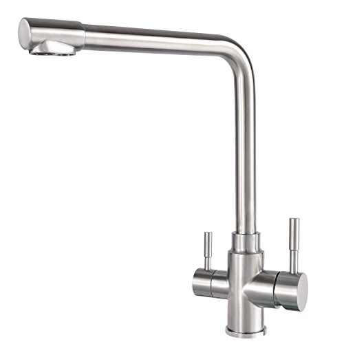 3 Way Water Filter Taps Stainless Steel Swivel Spout Pure Drinking Water...
