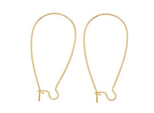 200pcs Top Quality Hypoallergenic Earring Hooks Kidney Ear Wires Earwire 25mm Long Gold Plated Brass Earrings Making Findings CF186 ()