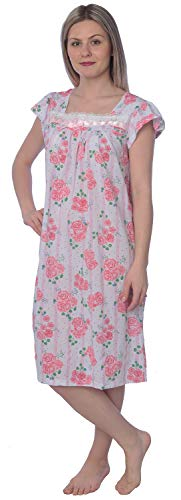 (Women's Floral Print Short Sleeves Lace Ribbon Chest Nightgown JX133 Pink 1X)