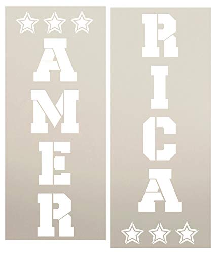 America with Stars Vertical Porch Sign Stencil - 2 Part Stencil by StudioR12 | Reusable Mylar | Patriotic Welcome Sign Memorial Day | Fourth of July | Veteran's Day