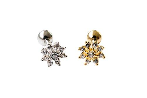 16g Body jewelry cartilage ear studs cute cool earring tragus helix barbell for women teens girls men mini snowflake earring piercing, Mini Flower Cz Tragus Earring,bridesmaid Gift 11P-01153 (gold)