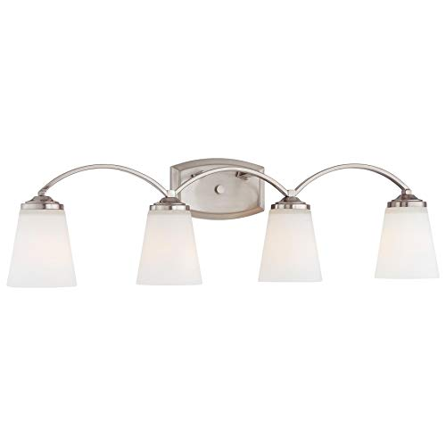Minka Lavery 6964 4 Light Bathroom Vanity Light from the Overland Park Collectio, Brushed - Park Vanity Light 4
