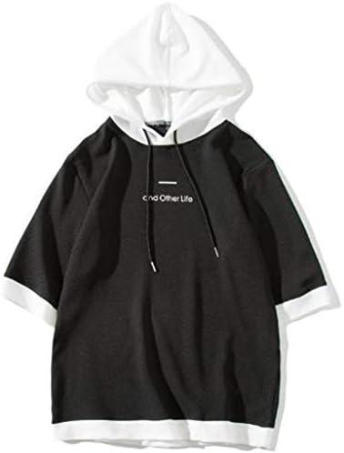 爽やか プルオーバー 半袖 パーカー カジュアル 五分袖 シンプル メンズ 無地 ロゴ デザイン カットソー