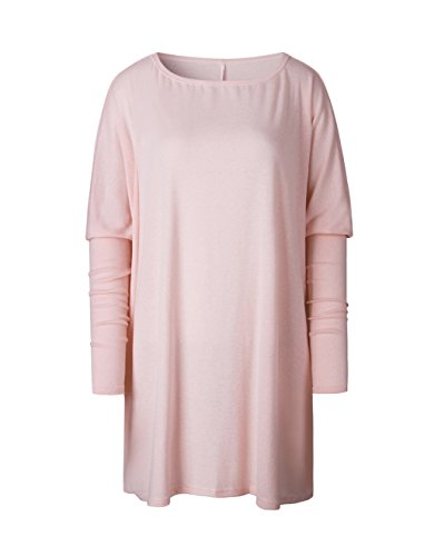 Sleeve Dans Automne et Collar Round Loose Tops Oversized hiver Womens la Batwing Pullover casual chic Long Jumper Rose section Sweater longue Longshirt z4wqx54dv