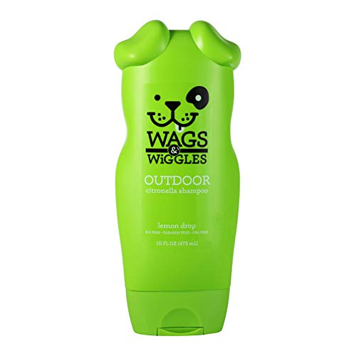 Wags & Wiggles Outdoor Citronella Dog Shampoo in Lemon Drop Scent | Dog Grooming Supplies for Smelly Dogs, 16 Ounces