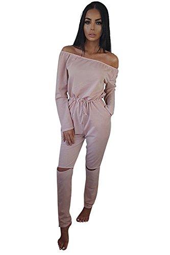 Miss Floral® Womens Off Shoulder Long Sleeve Jumpsuit 5 Colour Size 6-20  Black  Amazon.co.uk  Clothing 3c7d7971c