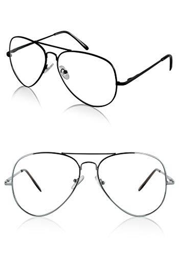 (Sunny Pro 2 Aviator Aviators Style Glasses Fashion 60's Costume Set Silver)