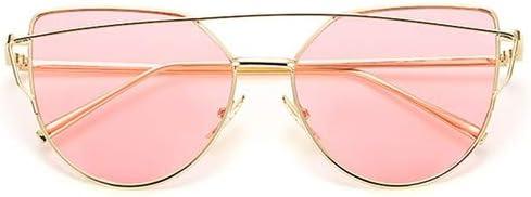 RJGOPL des lunettes de soleil Leonlionmarque designer chat olho oculos de solfemininovintage métal réfléchissant oculos pour mulher espelho rétro oculos de sol Gold Ocean Pink