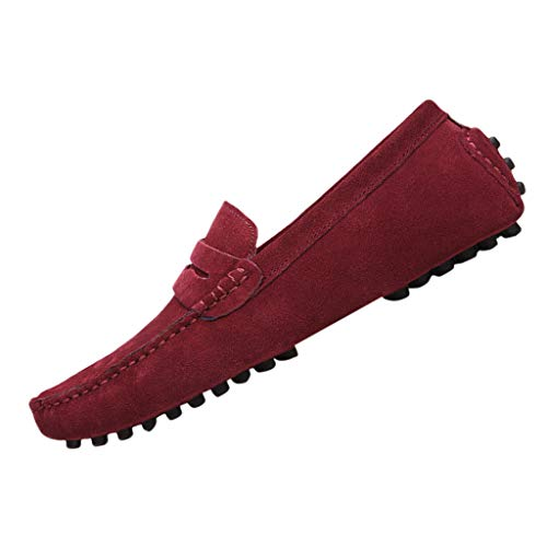 - iHPH7 Shoes Slip on Deck Shoes Canvas Loafer Vintage Flat Boat Summer Slip-On Peas Shoes Wild Suede Comfortable Casual Breathable Shoes Men (40,Wine)