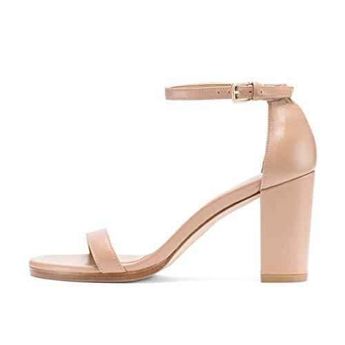 SHEO sandalias de tacón alto Sandalias de las señoras expuestas dedo del pie grueso con resorte y verano tacones altos Pink