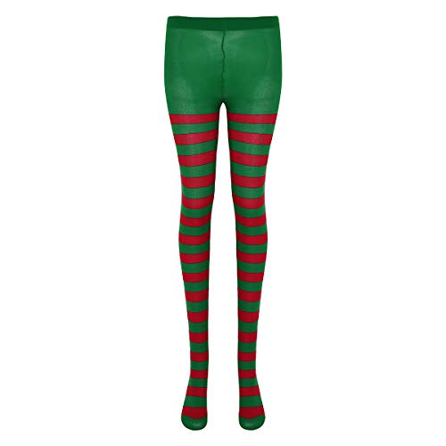 Tights Hosiery Sexy Stripe (FEESHOW Adult Two Toned Elf Jester Costume Spandex Full Footed Tights Hosiery Stockings Green&Red Stripe One Size)