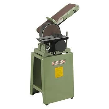 "6"" X 48"" Belt and 9"" Disc Combination Sander with Cast Iron Stand, 80-grit Sanding Belt and 80-grit Sanding Disc; 110V, 8 Amp"
