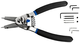 """Martin P1434 Quick Switch Retaining Ring Plier with Straight and 90 Degree Bent Tips, For 3/8"""" -2"""" Internal and 1/4"""" - 2"""" External"""