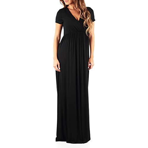Womens Faux Wrap Ruched Dress in Regular and Plus - Made in USA Black - Ruched Faux Wrap