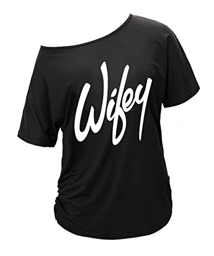 Begonia.K Women's Wifey Shirt Letter Print Off The Shoulder Slouchy Pullovers (Large, Black ()
