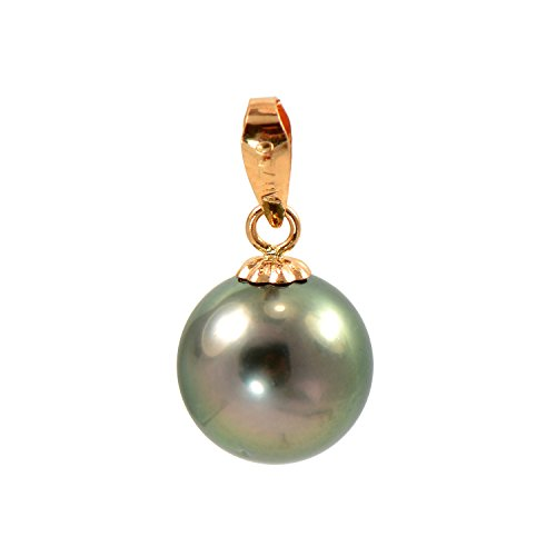(Paialco 18K Rose Gold Cultured Tahitian Black Pearl Pendant 8-9MM)