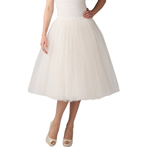 Line Tea (Lisong Women Tea Length A-Line Tulle Midi Petticoat Bridal Skirt 4 US Ivory)