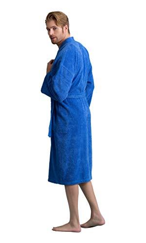 (Soft Touch Linen Men's Robe, Turkish Cotton Terry Kimono Spa Bathrobe (Royal Blue, Large))