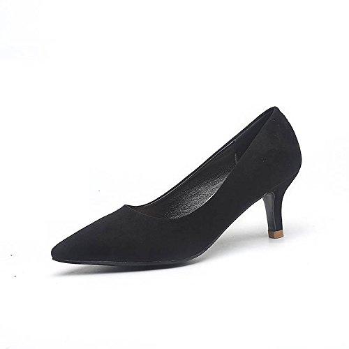 el Tacones con e 5cm medio de Zapatos Jqdyl con tacón calzado bajo en en honor invierno dama de únicos otoño Zapatos el femenino de alto Black 14d0qz4