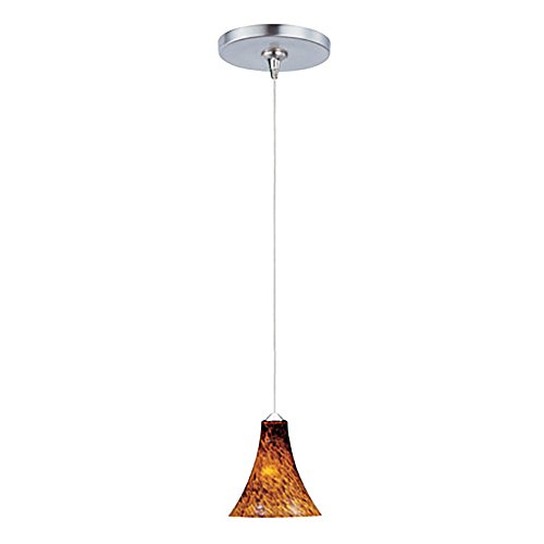 ET2 Lighting E94433-104SN Mini Pendant with Amber Leopard Glass Shade, Satin Nickel Finish