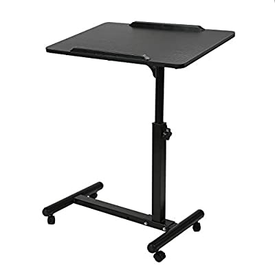 BarleyHome Overbed Table, Tray Table Adjustable Sofa Side Bed Table Portable Desk with Wheels Laptop Cart, Black