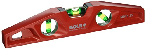 (Sola MM 5 25 Cast Aluminum Magnetic Torpedo Level, Red)