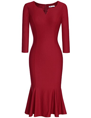 [MUXXN Women's 50s 60s Classy Vintage Party Dress with Sleeves (Burgundy XXL)] (Sixties Dress Up)