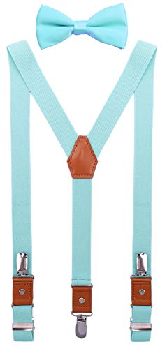 SUNNYTREE Kids Suspenders Bow Tie Set Adjustable Y Back Elastic 30 inches Turquoise -