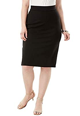 Roamans Women's Plus Size Ultimate Ponte Pencil Skirt