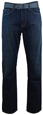 Calvin Klein Men's Relaxed Straight Leg Belted Jeans