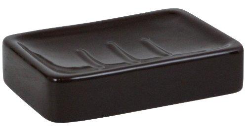 Kiera Grace Ceramic Soap Dish, 5 by 3.5 by 1.25 Inch, Espresso