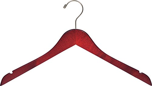 The Great American Hanger Company Wood Top Hanger, Box of 100 Space Saving 17 Inch Flat Wooden Hangers w/Cherry Finish & Brushed Chrome Swivel Hook & Notches for Shirt Jacket or Dress