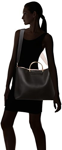 Dorothy Perkins Damen Metal Handle Shopper Schultertasche, Schwarz (Black), 42x30x15 cm