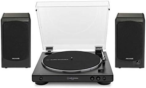 Audio-Technica AT-LP60X-BK Turntable Black Bundle with Microlab Pro1 Powered Bookshelf Speaker Pair 2 Items