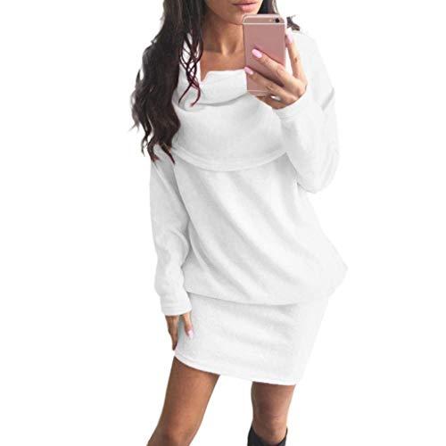 BOLAWOO Inverno Vestiti Donna Manica Lunga Bavero Slim Dell'Anca Del Pacchetto Abiti Pullover Mode di marca Eleganti Puro Colore Casuali Fashion Autunno Jumper Abiti Estivi Maglioni Lunghi Bianca