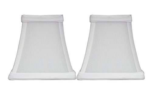 - Urbanest Set of 2 Square 5-inch Softback Bell Chandelier Lamp Shade, Off White, Faux Silk, Clip On