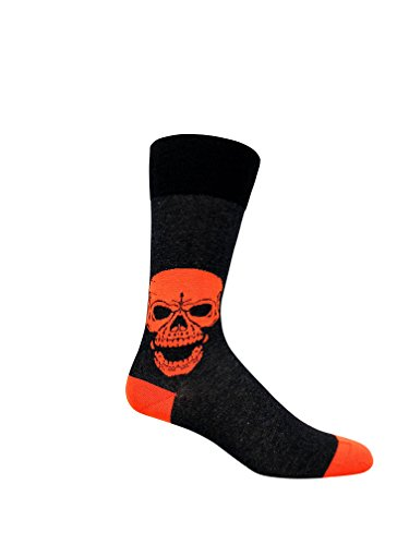 (Men's organic cotton socks with orange Skull design. Seamless toes and highly breathable Motorcycle socks)