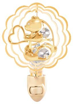Bear W/ Heart In Ruffled Circle in 24K Gold Plated Night Light..... With Clear Swarovski Austrian Crystal