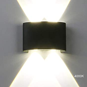 "Pathson Modern Outdoor Wall Light, 4 LEDs Hallway Porch Wall Sconce, Up Down Wall Lamp Indoor Matte Black Wall Mount Light Fixture 4000K White Light for 3.9"" Base(Style 1)"