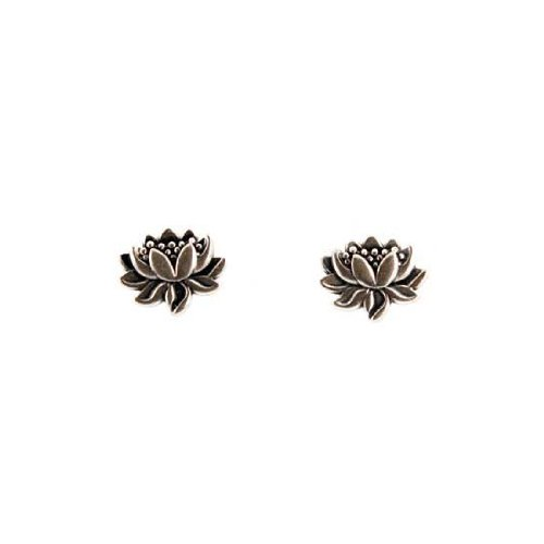 Lotus Earrings - Small Detailed Lotus Flower Stud Earrings in Sterling Silver, Suitable for Teen Girls, Children and Women, (Lotus Blossom Earrings)