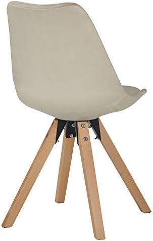 Duhome Chaise Salle à Manger Lot de 2 avec Coussin Design Retro Chaise scandinave avec Pieds en Bois WY 518M, Couleur:Beige, matière:Velours