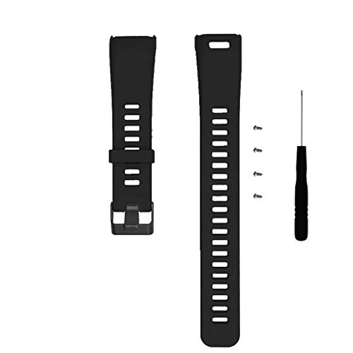 for Garmin Vivosmart HR Watch Band Replacement, Women Men Silicone Band Strap with Remove Tool for Garmin Vivosmart HR 170-220mm (Black)