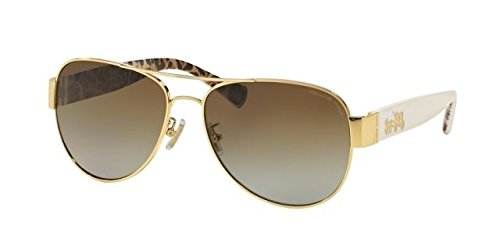 Coach Womens L138 Sunglasses (HC7059) Gold/Brown Metal - Polarized - 58mm by Coach