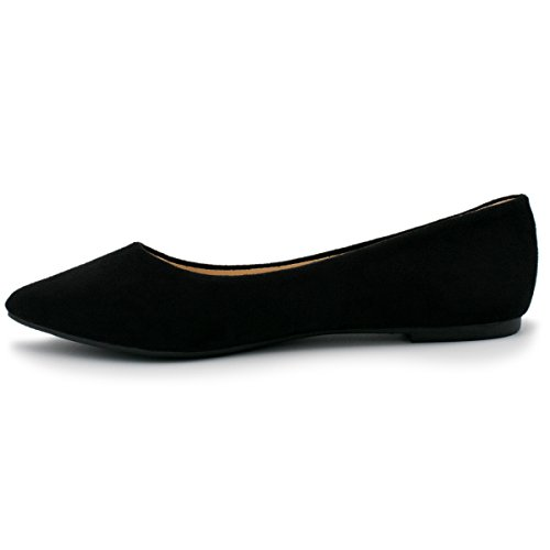 Bella Marie Angie-53 Damen Klassischer Spitzen Zehen Ballett Slip On Suede Flats Neue schwarze Su