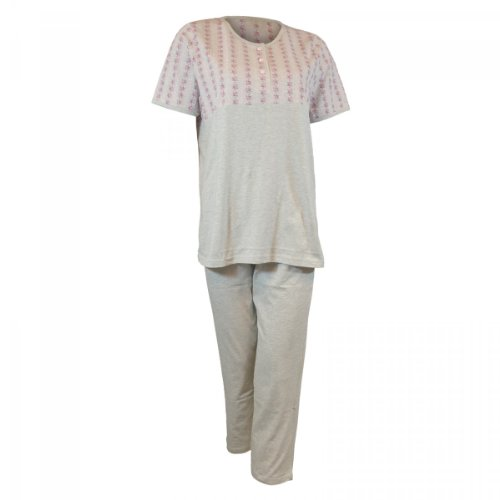 Comtessa Damen Pyjama Zweiteiler dünn rosa & grau Motiv Blütenranken Grau Melange und Rosa