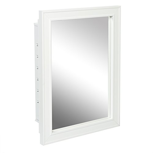 (American Pride G9610R1W G9610R1W-Recessed Wood Framed Mirror Steel Tech Body Medicine Cabinet 16