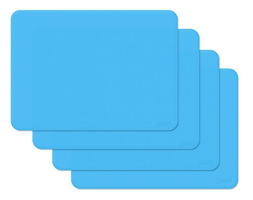 Gasare, Silicone Placemats, Kids Placemats, Non-slip Waterproof, Very Flexible Silicone, Assorted Colors, Size 16 x 12 Inches, Set of 4,Blue ()