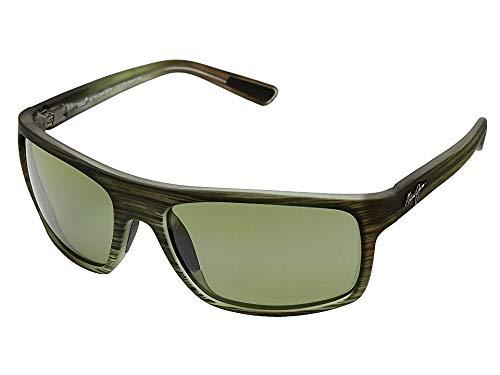 Maui Jim Byron Bay HT746-15MR | Polarized Matte Green Stripe Rubber Wrap Frame Sunglasses, Blue Hawaii Lenses, with Patented PolarizedPlus2 Lens ()