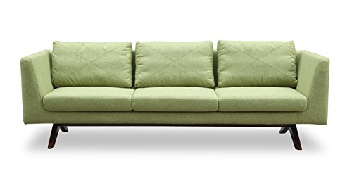 Kardiel Catherine Midcentury Modern 3-Seat Sofa, Walnut, Greenwich Tailored Twill