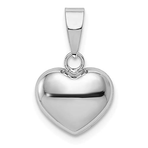 14K White Gold Polished Puffed Heart Charm